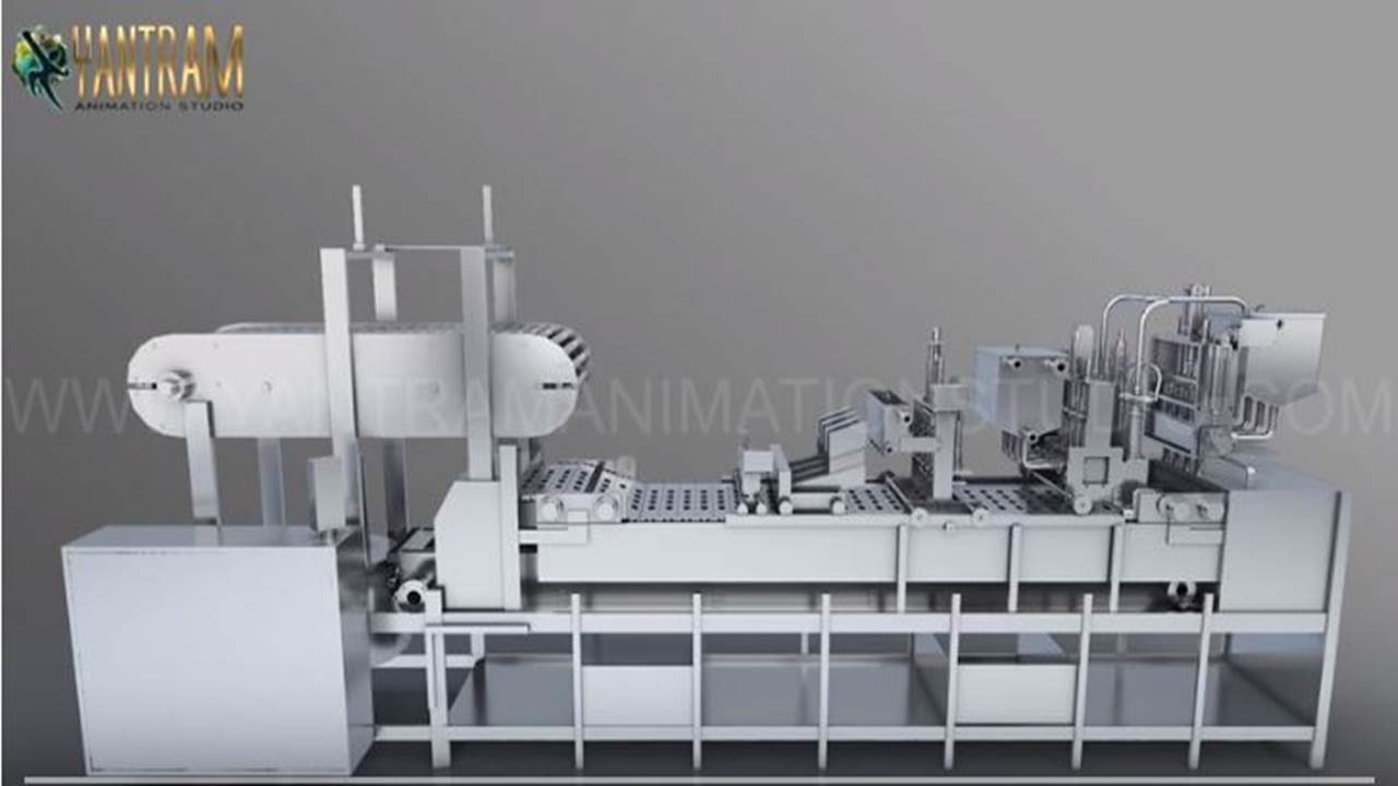 Yantram Studio - Industry Processing Vacuum FILLING Machine | 3D Product Modeling company of Multi-Container Machinery animation