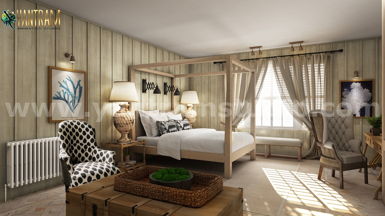 Yantram Studio - Luxurious Stylist Master Bedroom 3D Interior Modeling Concept by Architectural Rendering Company, New York—USA