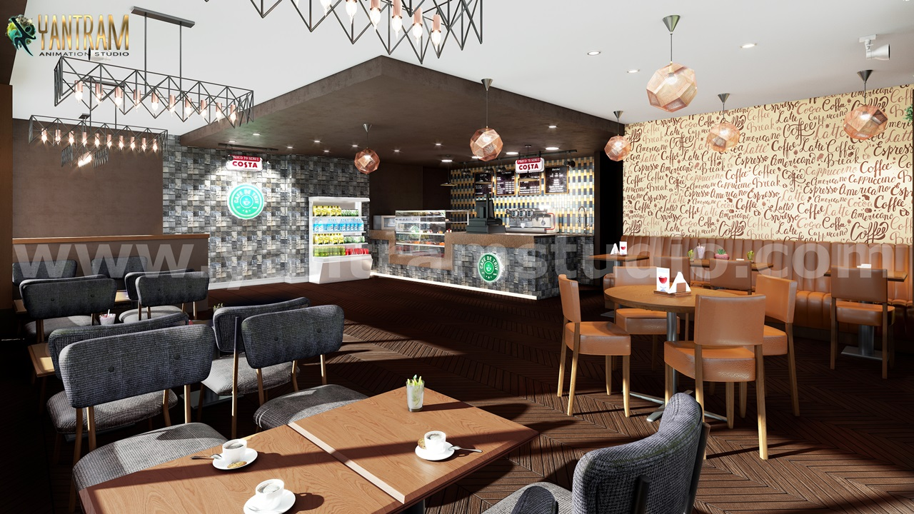 Yantram Studio - Unique Style Café & Bar 3D Interior Rendering by Architectural Rendering Companies, Toronto – Canada