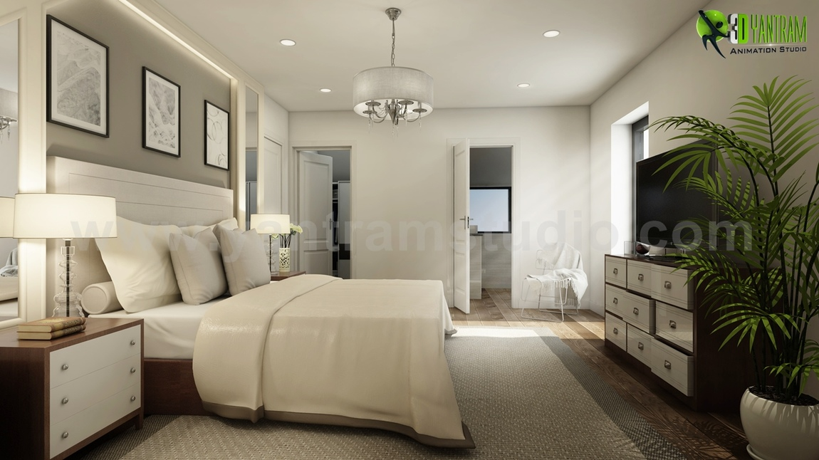 Yantram Studio - Modern Master Bedroom Ideas Developed By Yantram 3d Interior Rendering Services, Brussels - Belgium