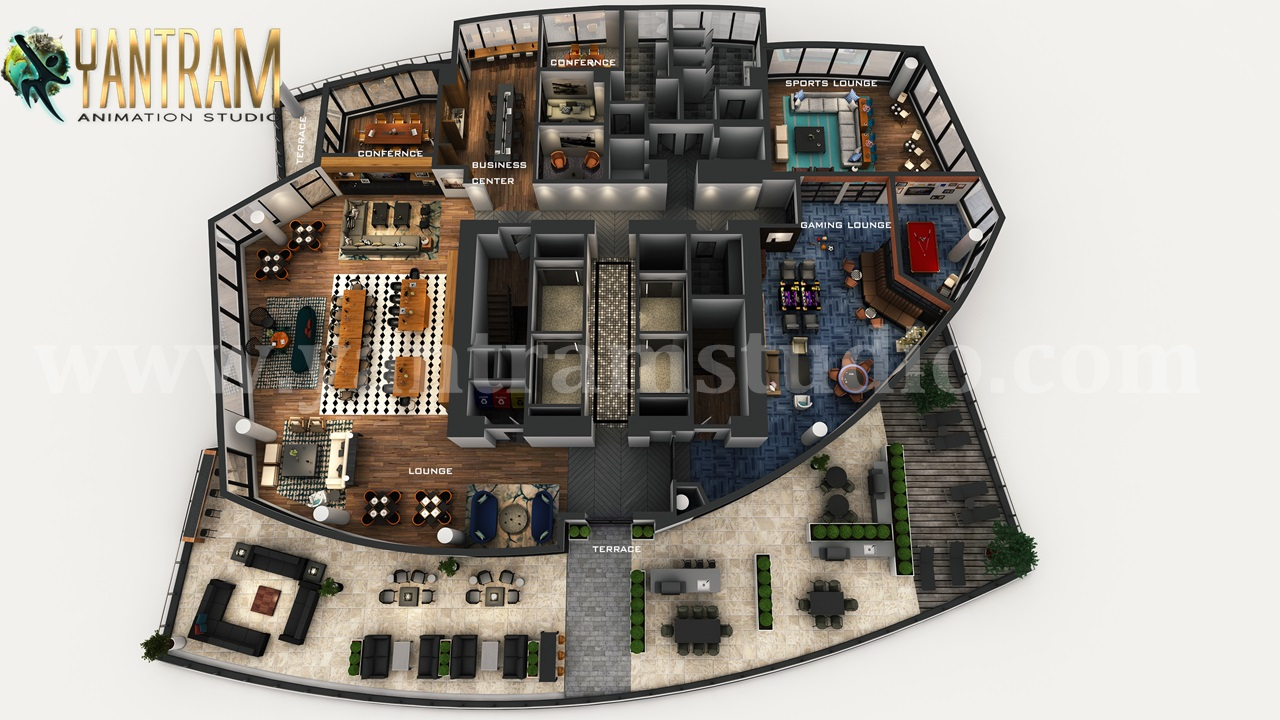 Yantram Studio - Professional 3D Virtual Floor Plan of Apartment's Rooftop Design with Terrace ideas by architectural design studio, Dubai – UAE