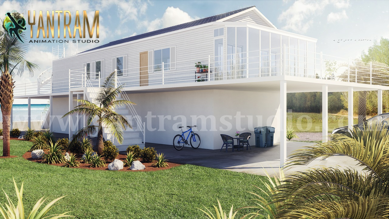 Yantram Studio - Fabulous White Vacation Home exterior rendering services & 3d landscape concept by architectural and design services, Milan - Italy