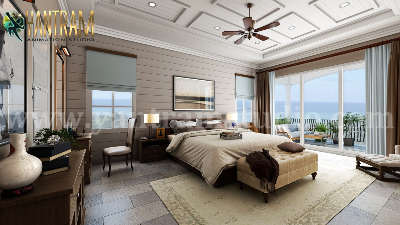 Yantram Studio - Master Bedroom with Species Balcony Interior Design Firms by Architectural Animation Services