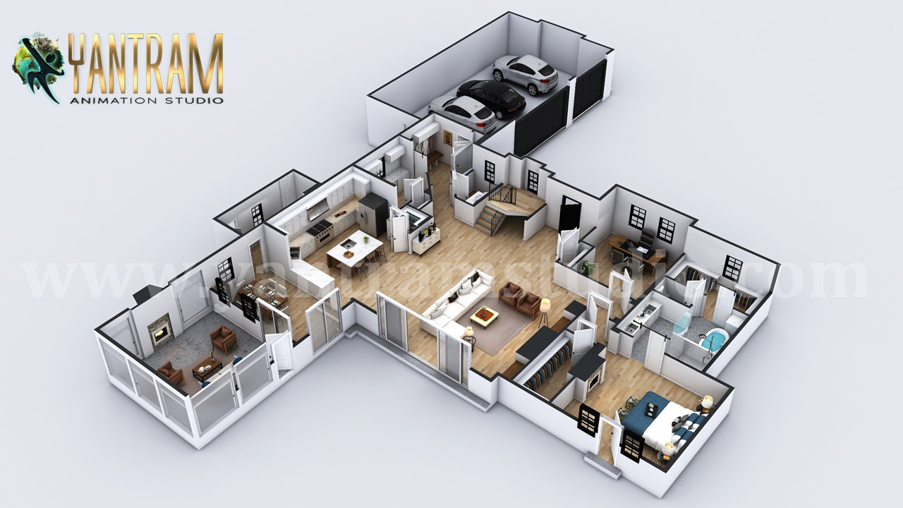 Yantram Studio - 4-bedroom Simple Modern Residential 3D Floor Plan House Design by 3D Architectural Design, Liverpool – UK
