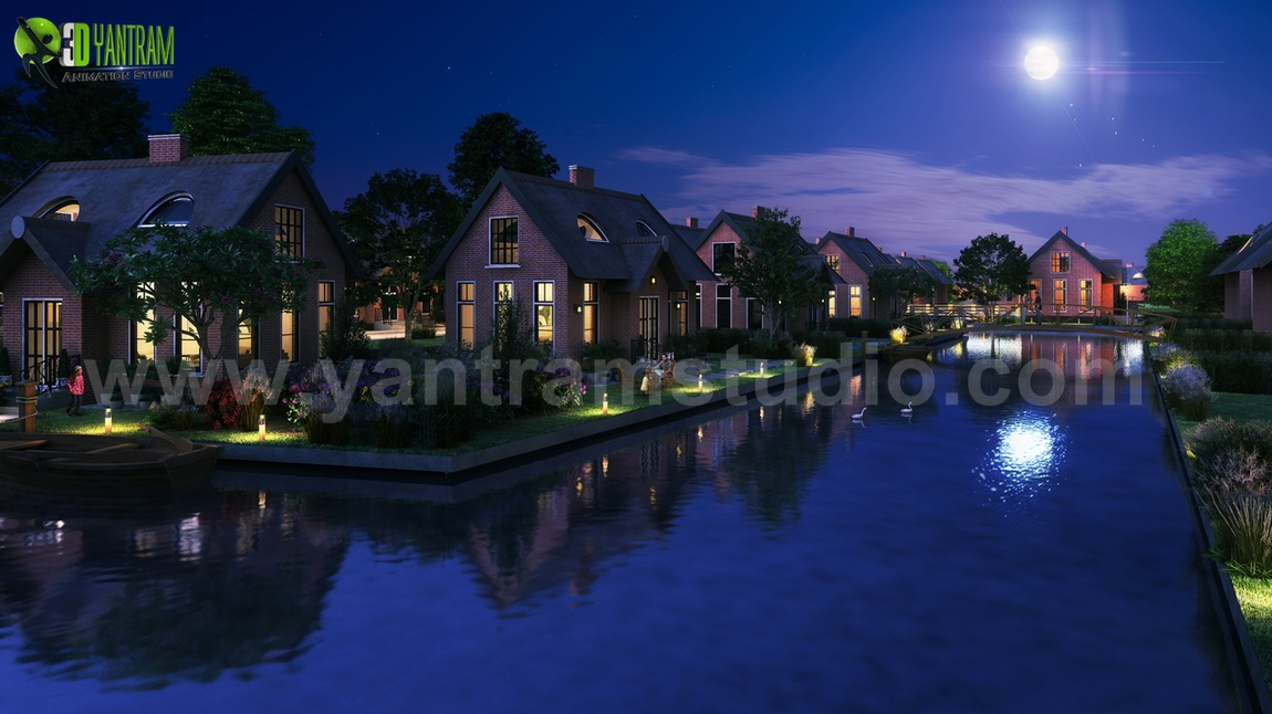 Yantram Studio - Romantic Night View of Waterside Villa 3D Exterior Modelling By Yantram 3D Animation Studio, Sydney-Australia