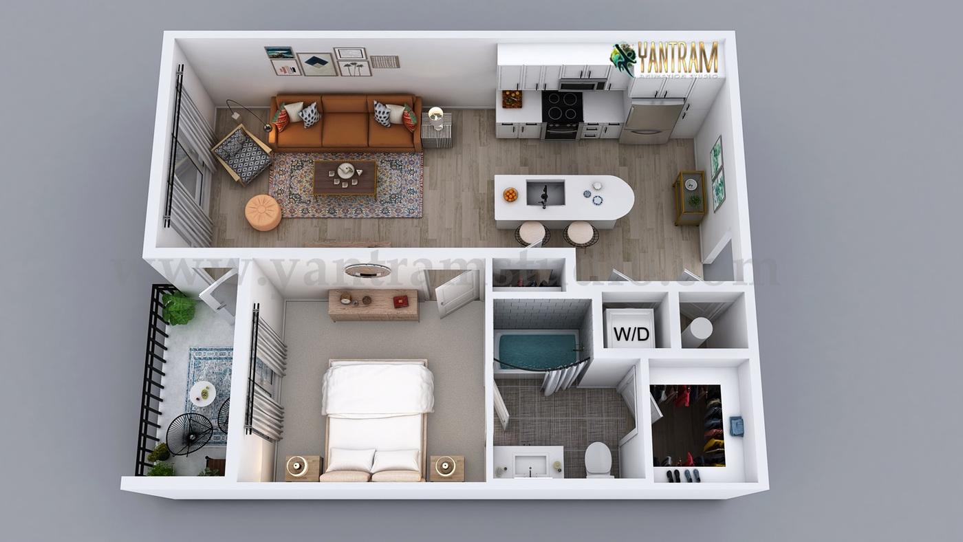 Yantram Studio - 3D Semi-Classic Floor Plan Rendering Service by Yantram 3D Animation Studio, Australia - Sydney