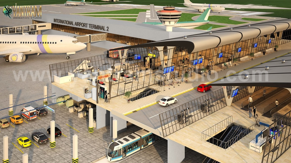 Yantram Studio - International Airport Terminal Concept exterior rendering services & 3d floor design By Yantram architectural visualisation studio, Brisbane – Australia