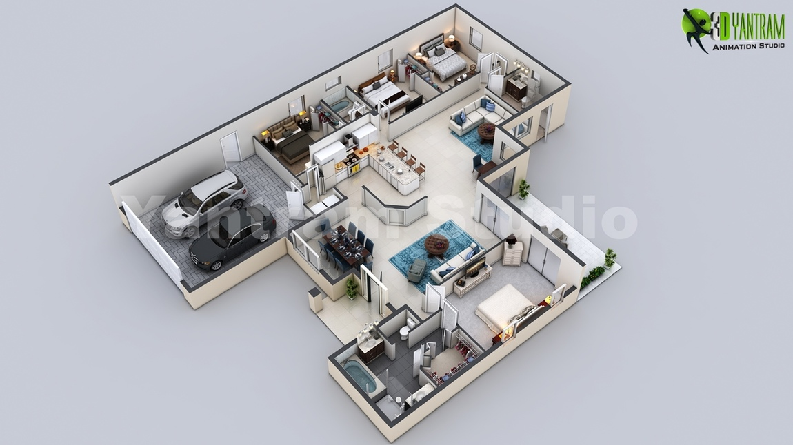 Yantram Studio - 3D Virtual Floor Plan of Luxurious Villa Design by Yantram Architectural Rendering Companies, New York - USA