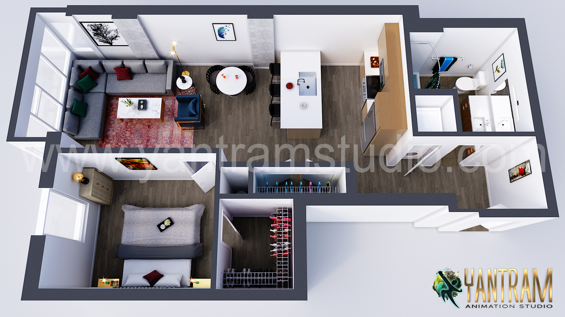 Yantram Studio - Modern Residential Virtual Floor Plan Design Concept by Yantram 3D Architectural Design, Vancouver – Canada