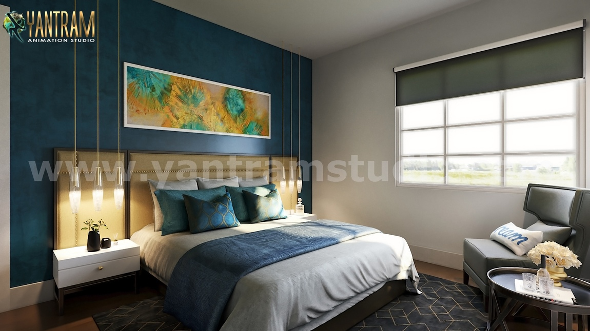 Yantram Studio - Modern Small Bedroom Concept with Unique Interior Design Firms by Yantram Architectural Rendering Companies, Liverpool – UK