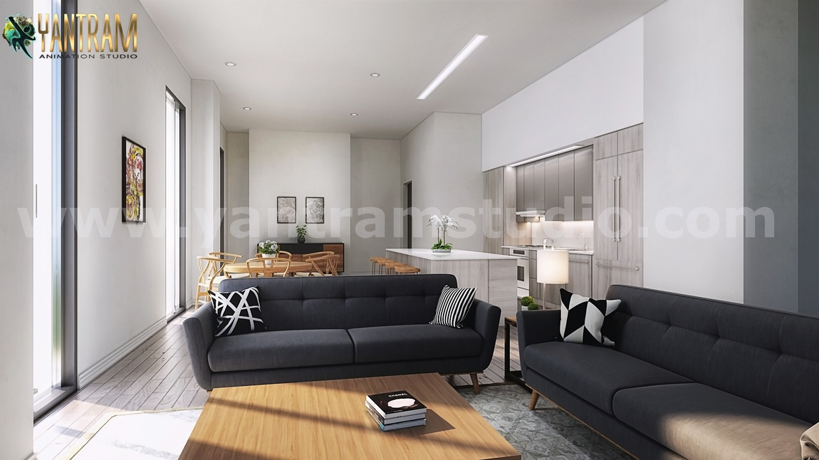 Yantram Studio - Open Concept Kitchen Living Room 3D Interior Rendering Ideas Developed By Yantram Architectural and Design Services, Doha – Qatar