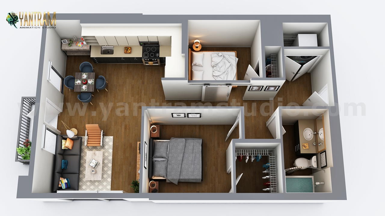 Yantram Studio - Two Bedroom Residential House  3D Floor Plan Design by Architectural Design Studio, Vegas - USA