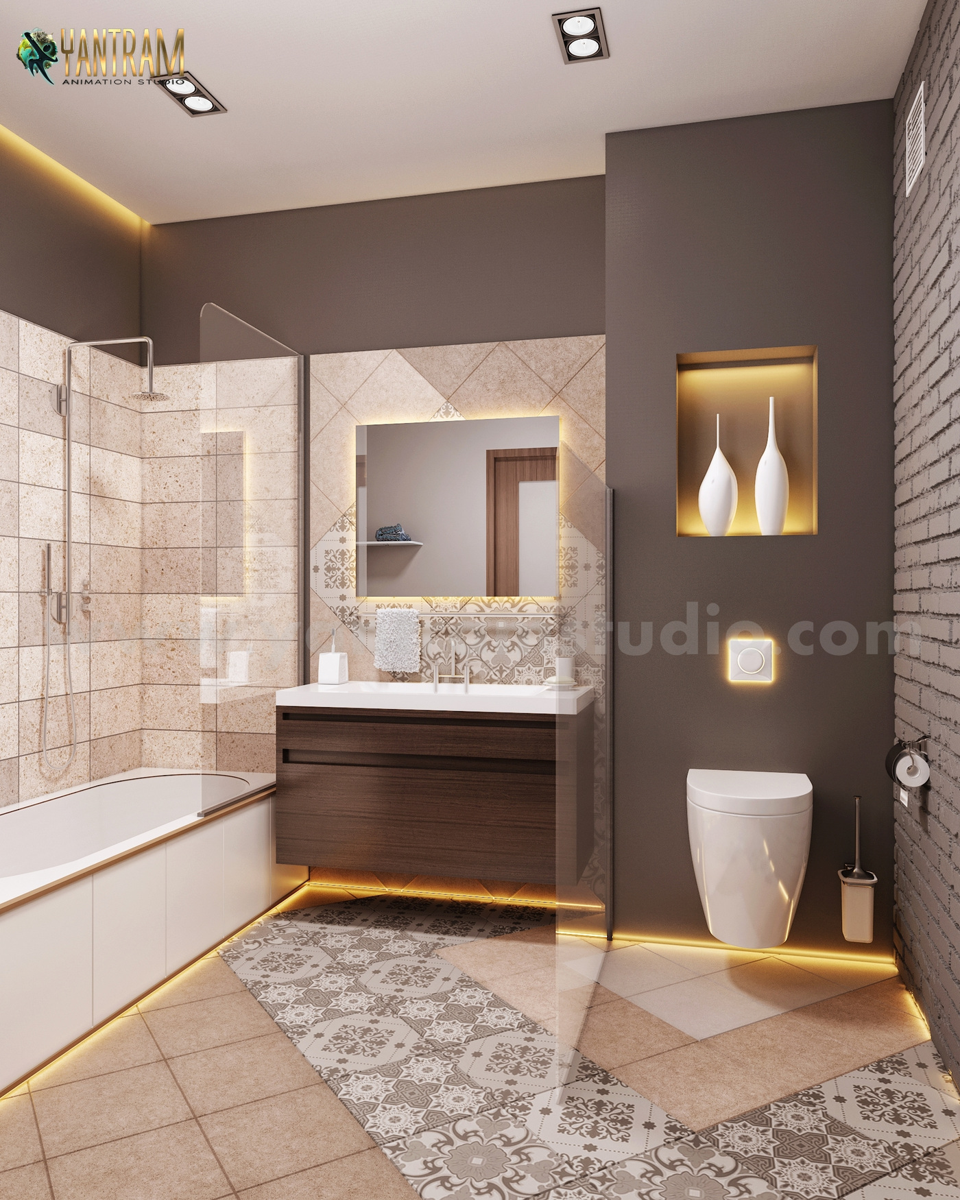 Yantram Studio - Contemporary Bathroom Decor Style Interior Design for Home by Architectural Design Studio, Qatar - Doha
