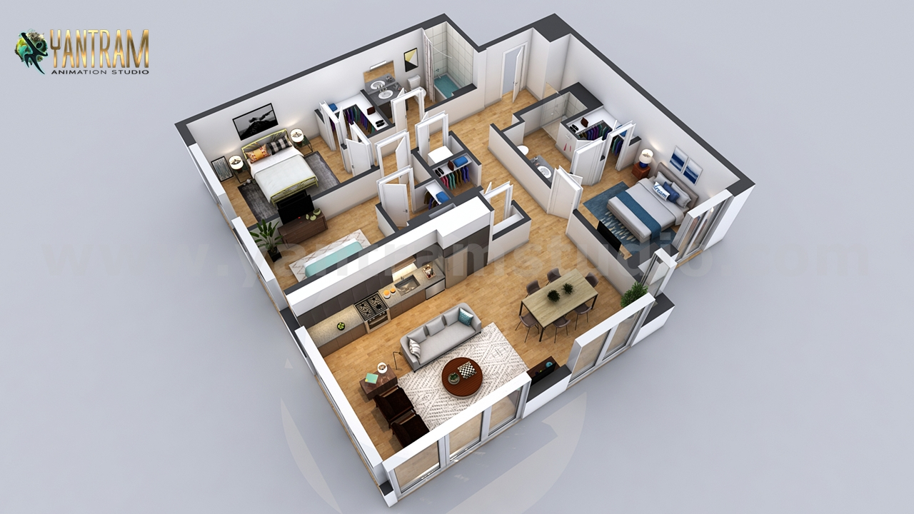 Yantram Studio - Residential 3D Floor Plan with 2 Bedroom Apartment/House Design by Architectural Modeling Firm, Dubai - UAE