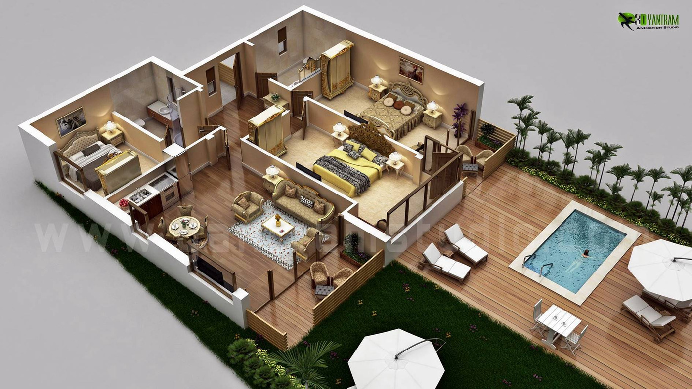 Yantram Studio - Traditional Residential House 3D Floor Plan Design with Swimming Pool Concept by Architectural Rendering Company, Sydney - Australia