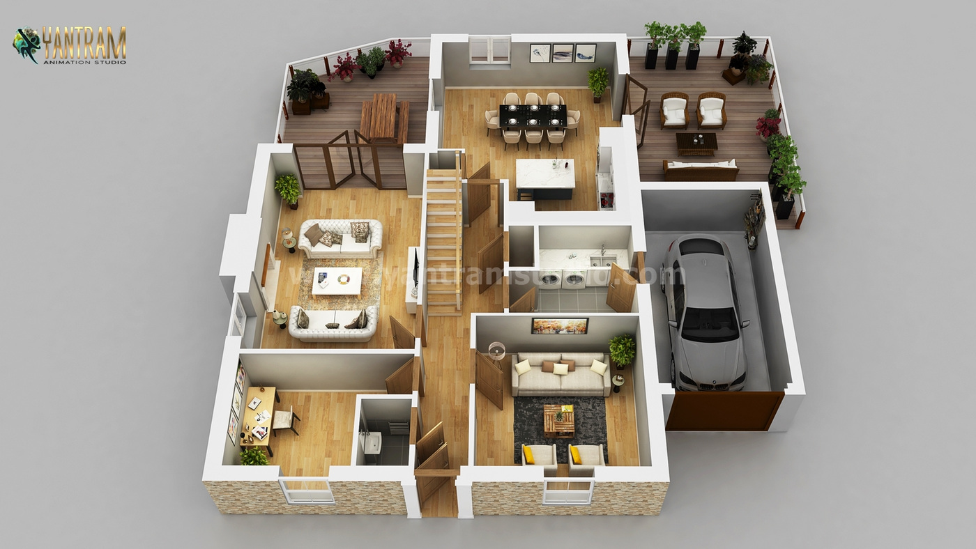 Yantram Studio - Residential Apartment 3D Floor Plan Design by Architectural Rendering Services, Wasilla – Alaska