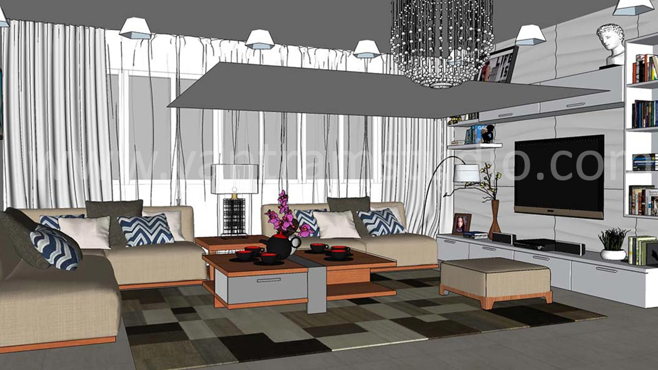 Yantram Studio - Living Area Concept of Sketchup to CAD Conversion by Architectural Studio, Boston-USA.