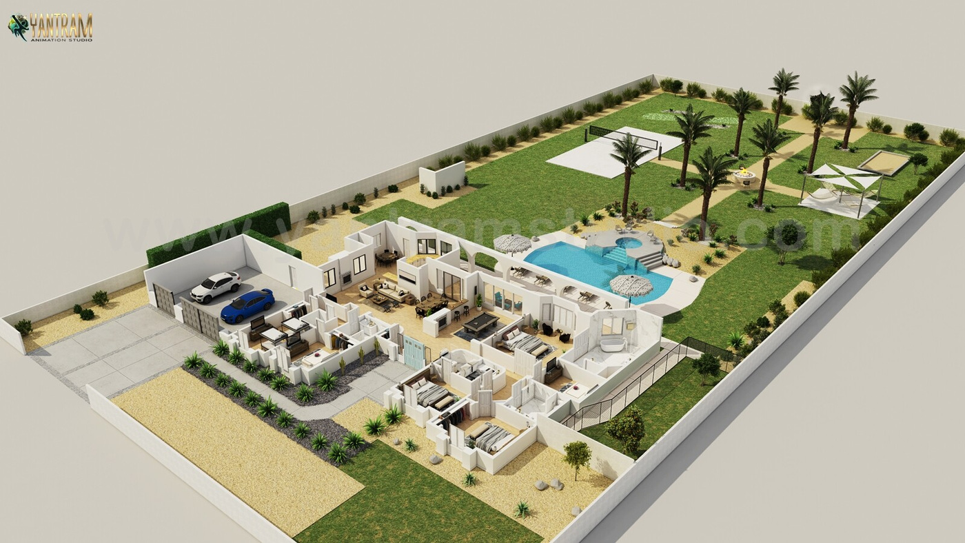 Yantram Studio - Luxurious floor plan designer with landscape pool view by Architectural visualisation studio , Bern—UK