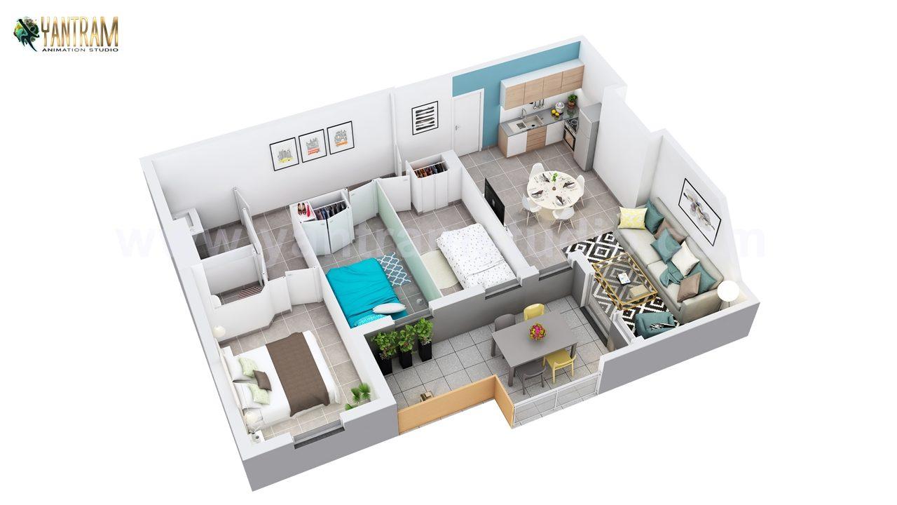 Yantram Studio - 3D Floor Plan of Residential Apartment Layout by Floor Plan Designer- Austin ,Texas