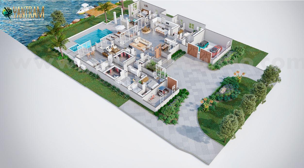 Yantram Studio - 3D Virtual Floor Plan design with beautiful backyard pool landscaping - San Francisco,California