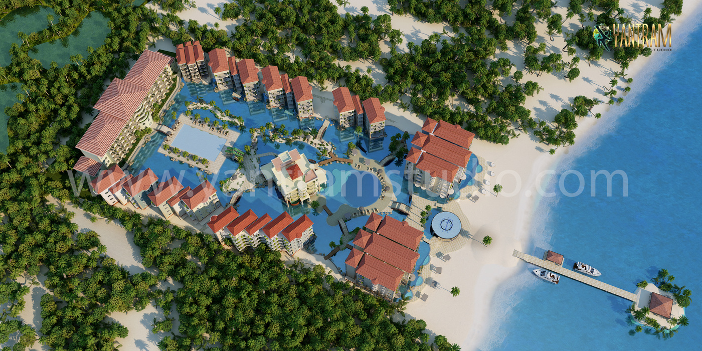 Yantram Studio - Aerial View Residential Landscape 3d architectural visualisation of Exterior Rendering Services by Architectural studio 2021, London  –  UK