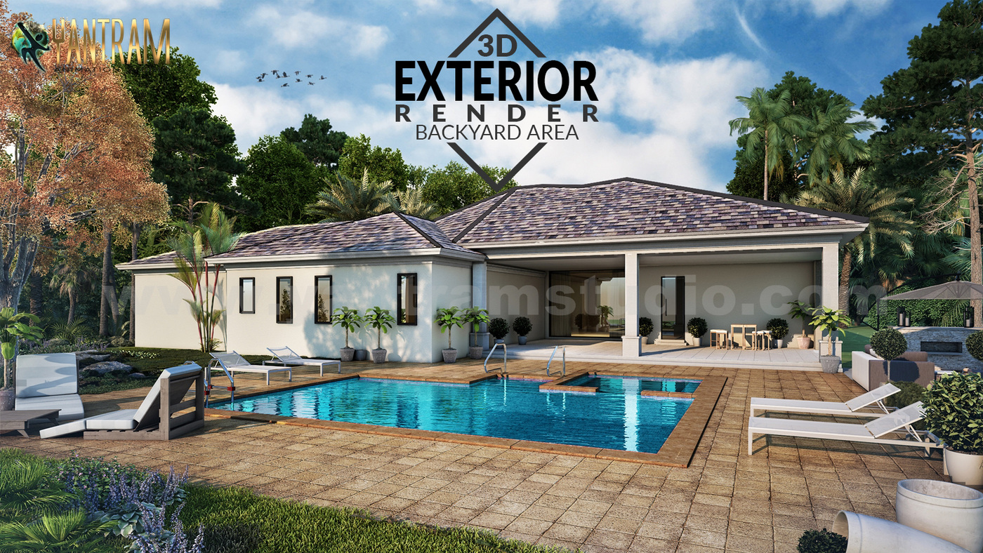 Yantram Studio - 3D Architectural Rendering Residential House with backyard pool area by architectural design studio, Houston - Texas