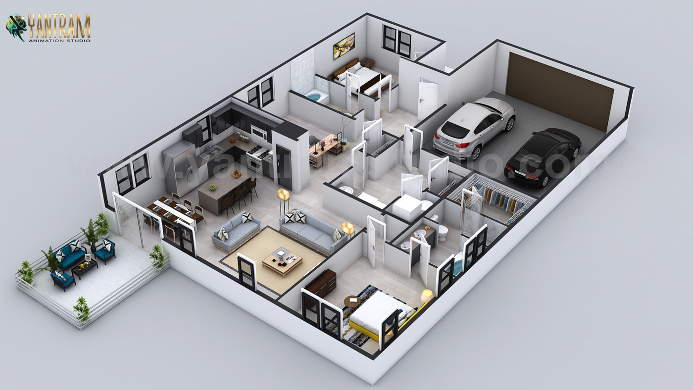Yantram Studio - 3D Floor Plan for 3D Contemporary Residential Home with Garage Slot by Architectural Animation Studio, Indianapolis, Indiana