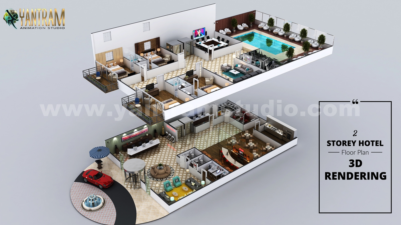Yantram Studio - Hotel 3D Virtual Floor Plan Rendering With Beautiful Backyard Pool Landscaping by Architectural Modeling Firm, Chicago, Illinois