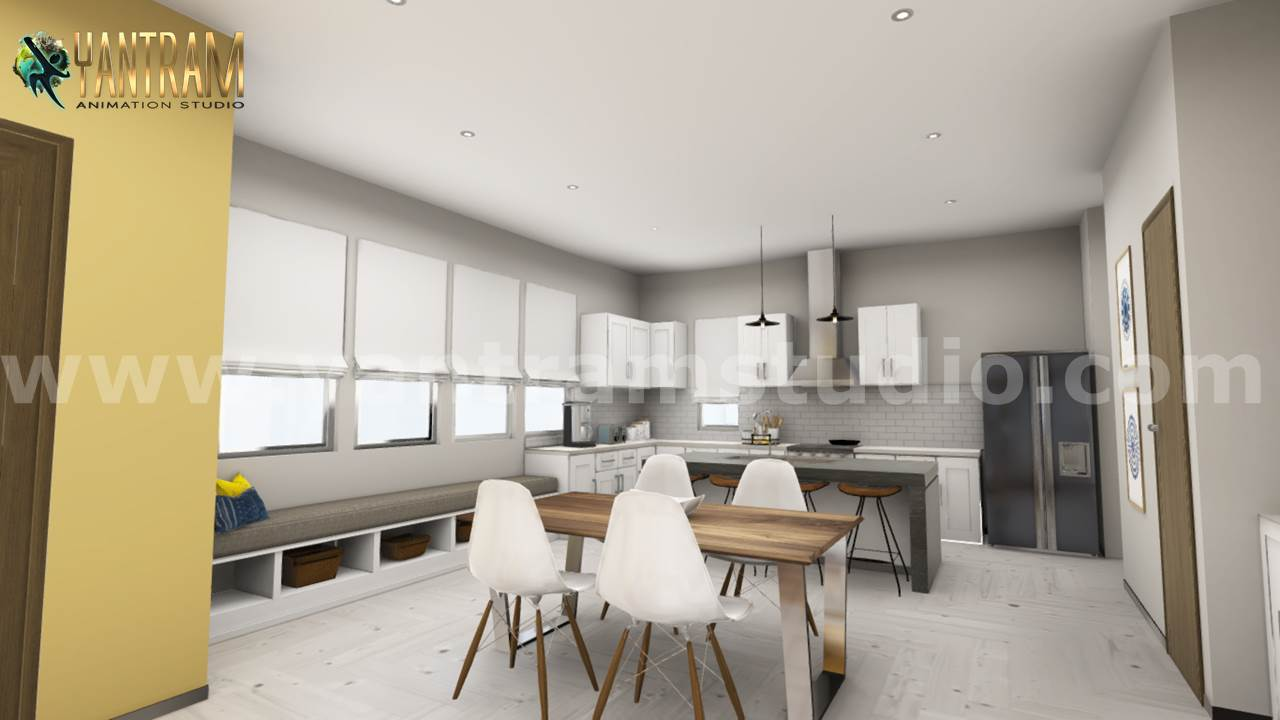 Yantram Studio - 3D Interior Kitchen & Living room Design of Virtual Reality Real Estate Companies by Architectural Modeling Firm, Columbus,Ohio