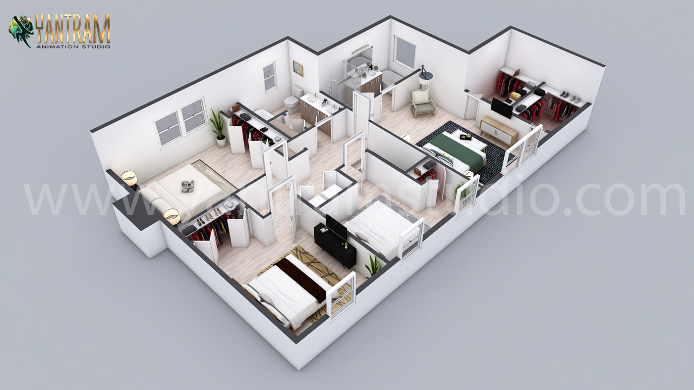 Yantram Studio - 3D Residential floor plan designer By architectural visualisation studio San Jose, California