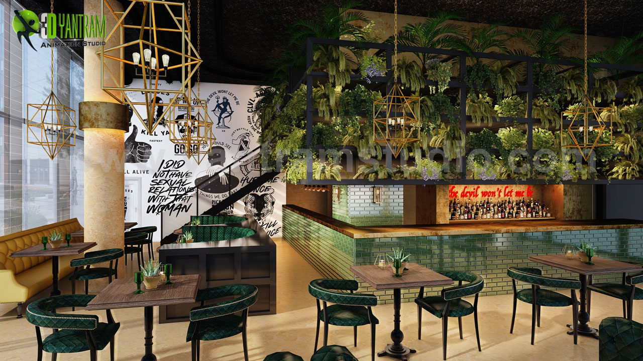 Yantram Studio - 3D Interior Design of Modern Bar by Yantram Architectural Studio, Provo – Utah.