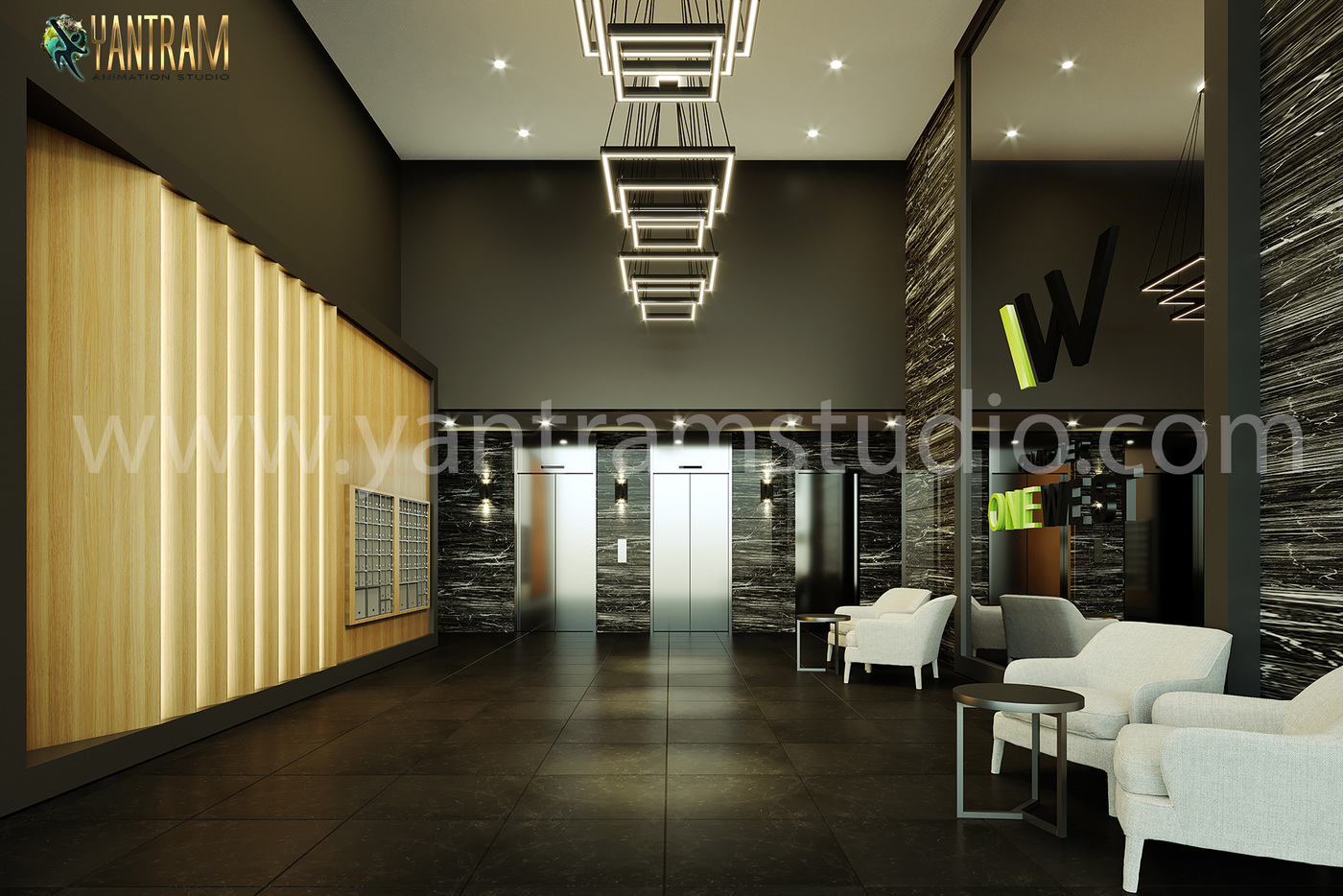 Yantram Studio - 3d interior design rendering views of the lobby, Indianapolis - Indiana