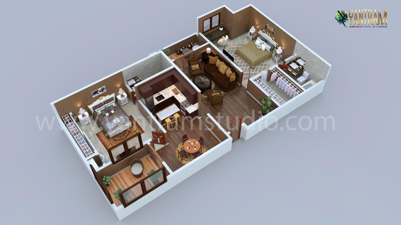 Yantram Studio - Modern Residential 3d floor plan design with 2 bedrooms by architectural rendering studio 2021, Boston - Massachusetts
