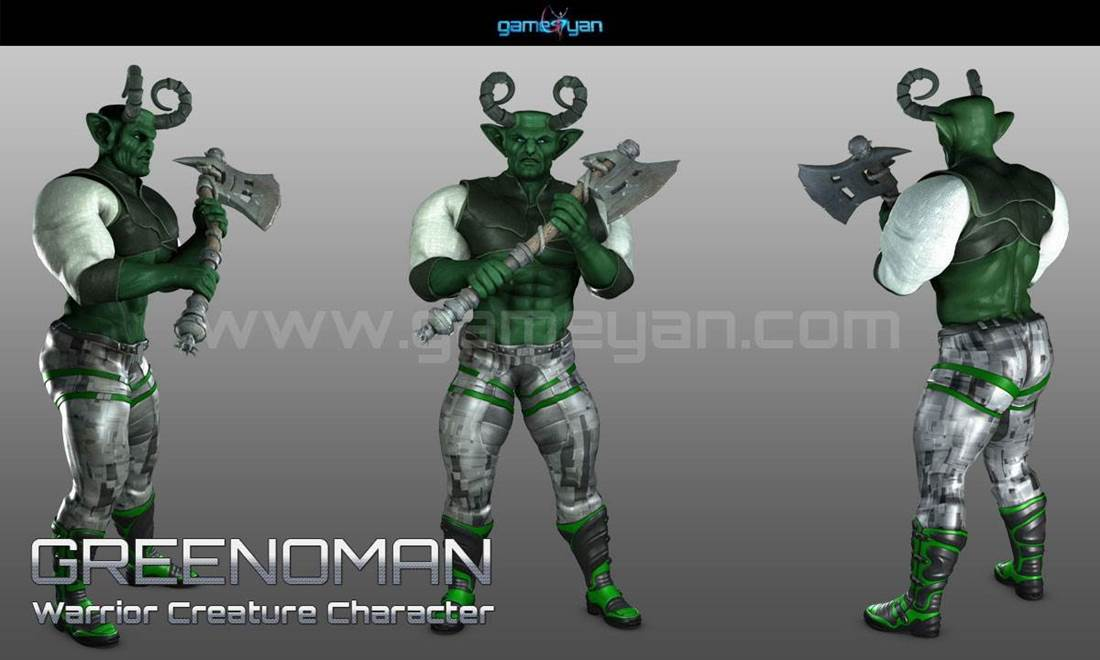 GameYan Studio - 3D Greenoman Warrior Character Modeling by Gameyan Character Design Studio - Germany