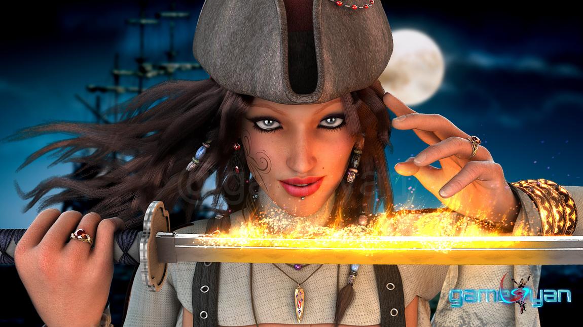 GameYan Studio - Angela Fantasy Pirates Character Model by Gameyan Game Art Design Companies - California, USA