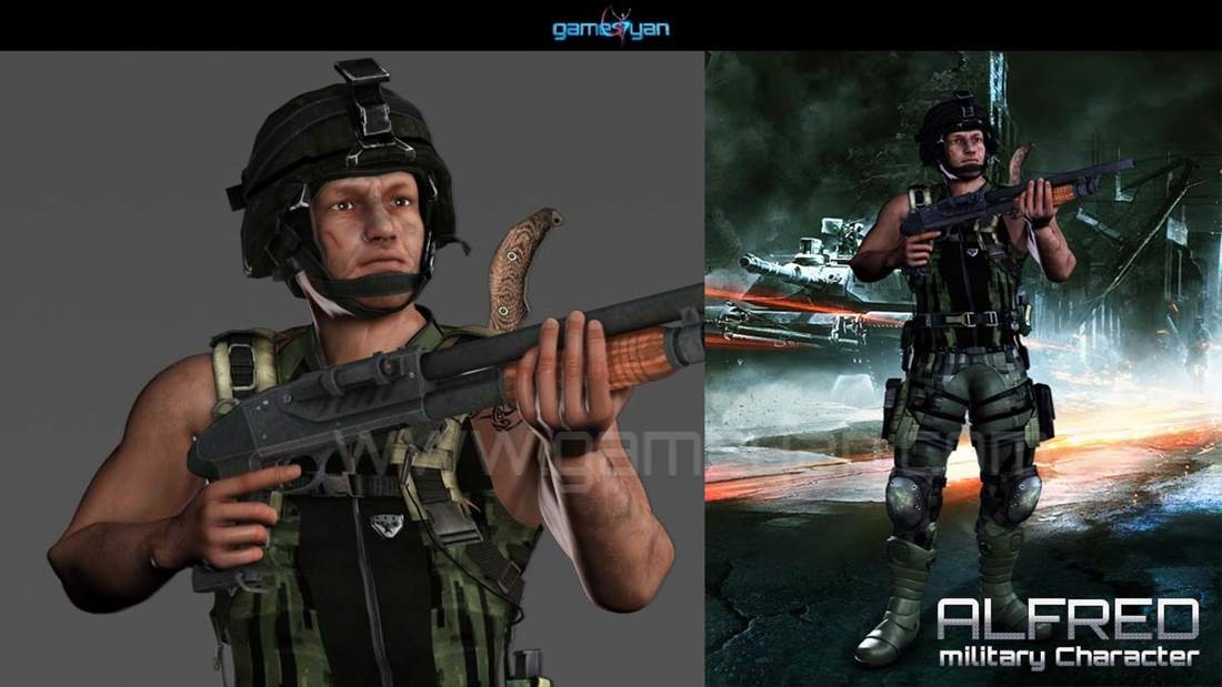 GameYan Studio - 3D Military Mascot Character Design by Gameyan game development companies - San Francisco, USA