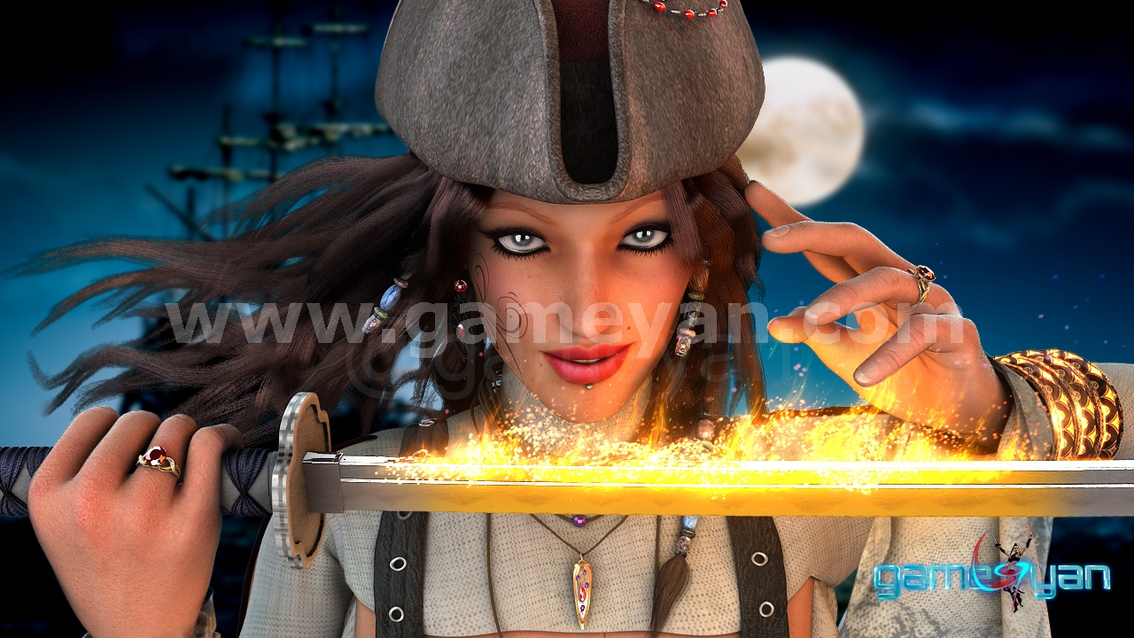 GameYan Studio - Angela 3D Woman Pirates Character Rigging by 3D Production Animation Studio