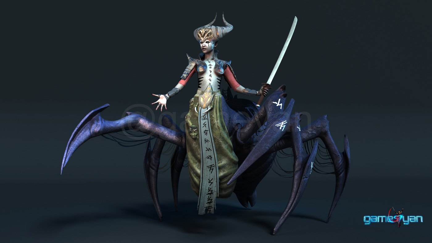 GameYan Studio - Spider Mistress - 3d low poly character developers for Character Animation Company