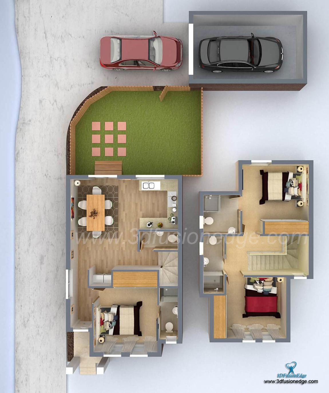 3dfusionedge - 3D Floor Plan Top View Whole Interior